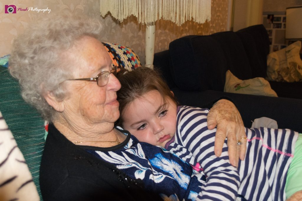 Road Trips - Great Granddaughter resting with her Nan